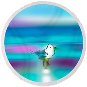 Standing Seagull Round Beach Towel by Frank Bright