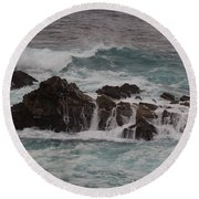 Standing Up To The Waves Round Beach Towel by Suzanne Luft