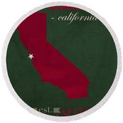 Stanford University Cardinal Stanford California College Town State Map Poster Series No 100 Round Beach Towel by Design Turnpike