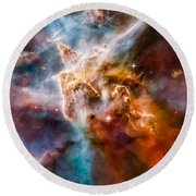 Star-forming Region In The Carina Nebula - Detail 1 Round Beach Towel
