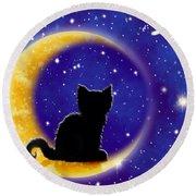 Star Gazing Cat Round Beach Towel