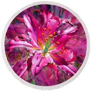 Star Gazing Stargazer Lily Round Beach Towel