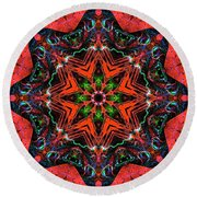 Star Inside Red 1 Round Beach Towel