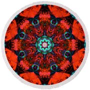 Star Inside Red 2 Round Beach Towel