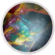 Star Nebula Round Beach Towel by Carrie Maurer