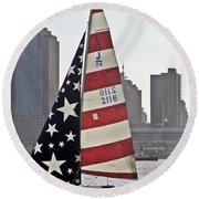 Round Beach Towel featuring the photograph Star Spangled Sail  by Lilliana Mendez