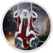 Santa's Star Swing Round Beach Towel