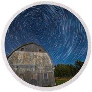 Star Trails Over Barn Round Beach Towel by Paul Freidlund