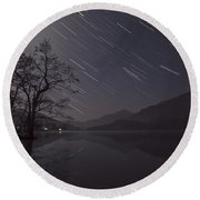 Star Trails Over Lake Round Beach Towel