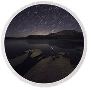Star Trails Over Silver Lake Resort Round Beach Towel