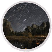 Star Trails Over Yosemite Round Beach Towel