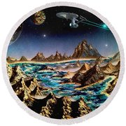Star Trek - Orbiting Planet Round Beach Towel by Michael Rucker