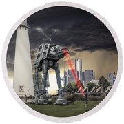 Round Beach Towel featuring the photograph Star Wars All Terrain Armored Transport by Nicholas  Grunas