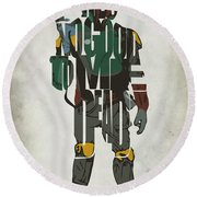 Star Wars Inspired Boba Fett Typography Artwork Round Beach Towel by Ayse Deniz