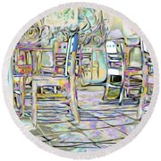 Round Beach Towel featuring the digital art Starbucks After Hours by Mark Greenberg