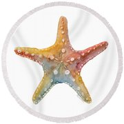 Starfish Round Beach Towel by Amy Kirkpatrick