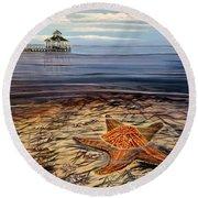 Starfish Drifting Round Beach Towel by Marilyn  McNish
