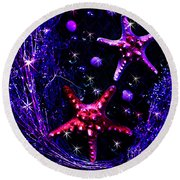 Starfish Galaxy Round Beach Towel