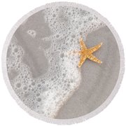 Starfish In The Surf Round Beach Towel