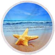 Starfish On A Beach   Round Beach Towel