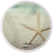 Starfish On Beach Vintage Seaside New Jersey  Round Beach Towel