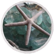 Starfish With Sea Glass Round Beach Towel