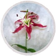 Stargazer Lily Round Beach Towel by Louise Kumpf