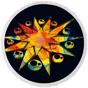 Staring Into Eternity Abstract Stars And Circles Round Beach Towel