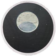 Round Beach Towel featuring the painting Starlight by Mini Arora
