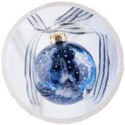 Christmas Ornament With Stars Round Beach Towel by Vizual Studio