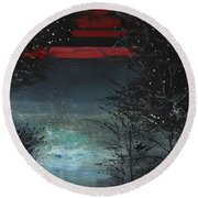 Starry Night Round Beach Towel by Anil Nene
