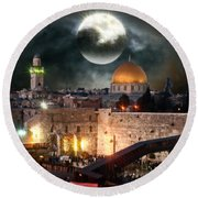 Starry Night At The Dome Of The Rock Round Beach Towel by Doc Braham