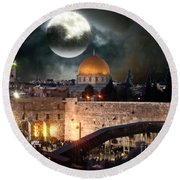 Full Moon At The Dome Of The Rock Round Beach Towel