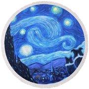Starry Night Border Collies Round Beach Towel