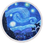 Starry Night Border Collies Round Beach Towel