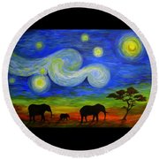 Starry Night Over Africa Round Beach Towel