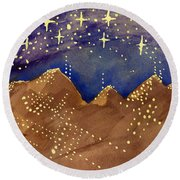 Stars Of Heaven And Earth Round Beach Towel