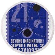 Starschips 21- Poststamp - Sputnik 2 Round Beach Towel by Chungkong Art