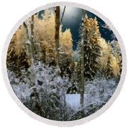 Starshine On A Snowy Wood Round Beach Towel by RC deWinter