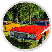 Starsky And Hutch Ford Gran Torino Round Beach Towel