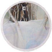 Startled Morning Round Beach Towel