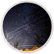 Stars Drunk On Lightpaint Round Beach Towel