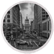 Round Beach Towel featuring the photograph State Capitol Building by Howard Salmon