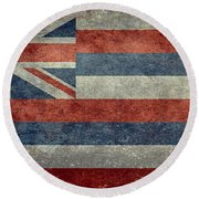 State Flag Of Hawaii Vintage Version Round Beach Towel