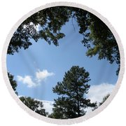 Stately Forest  Round Beach Towel by Joseph Baril