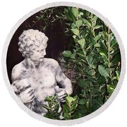Round Beach Towel featuring the photograph Statue 1 by Pamela Cooper