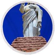 Statue Of Jesus Round Beach Towel