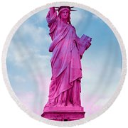 Statue Of Liberty - Pink Round Beach Towel