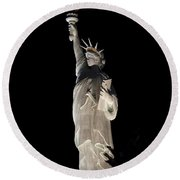 Statue Of Liberty After Midnight Round Beach Towel
