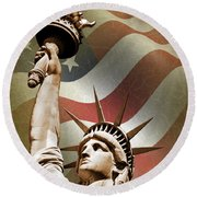 Statue Of Liberty Round Beach Towel by Mark Rogan